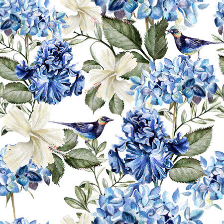 Colorful watercolor pattern with flowers hydrangea , hibiscus , iris and bird . Illustration Banco de Imagens