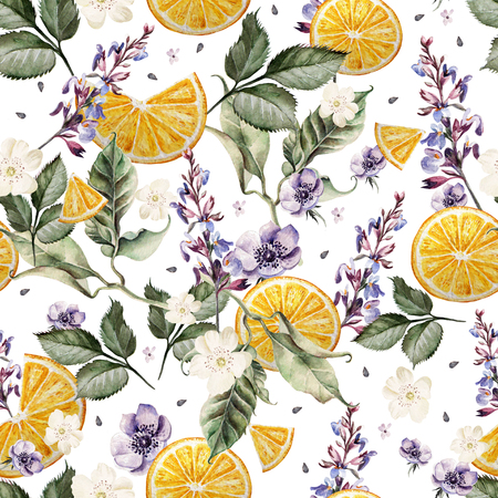 Colorful watercolor pattern with lavender flowers, anemones, and orange fruits.