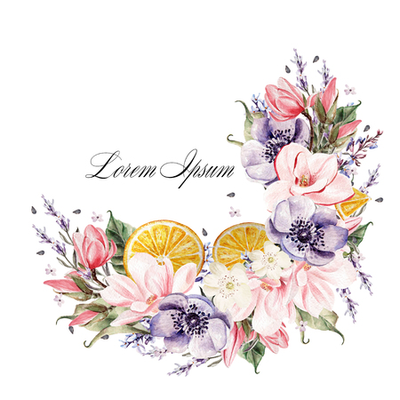 Beautiful watercolor wreath with lavender flowers, anemone, magnolia and orange fruits. Stock Photo