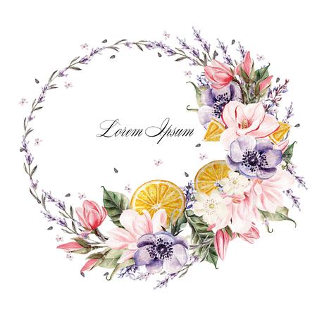 ラベンダー花、アネモネ、マグノリア、オレンジ色の果実と美しい水彩画の花輪。 写真素材