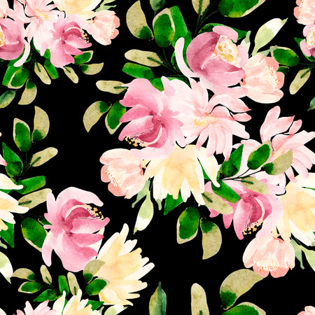 Beautiful Bright Colorful Watercolor Pattern With Rose Flowers. Illustration