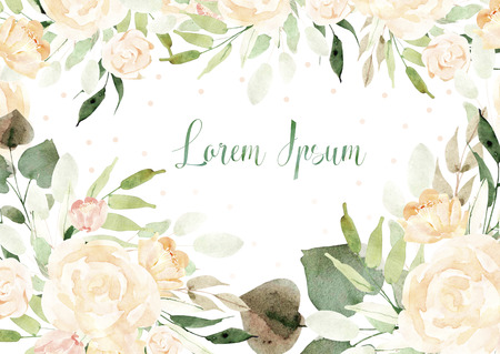Beautiful watercolor card with roses flowers and leaves. Wedding card. Illustration