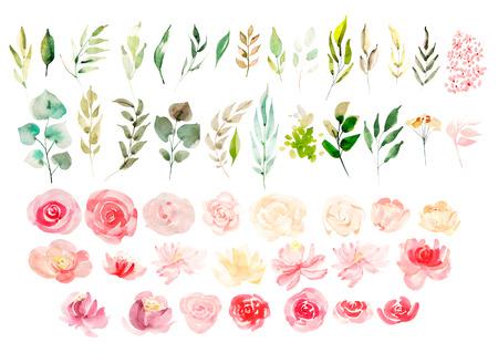 Aquarell mit Blumen Standard-Bild - 82276427