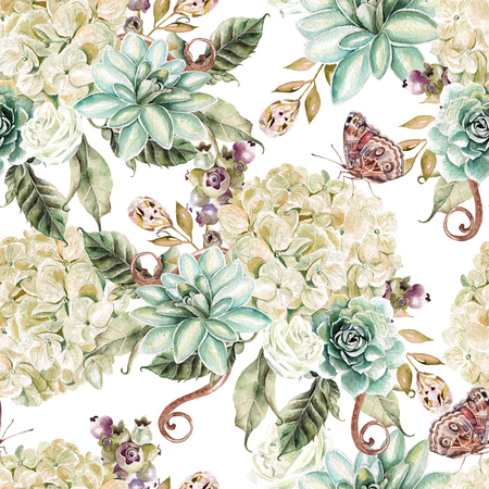 Bright watercolor seamless pattern with flowers hydrangea, rose and succulents. Illustration Stok Fotoğraf
