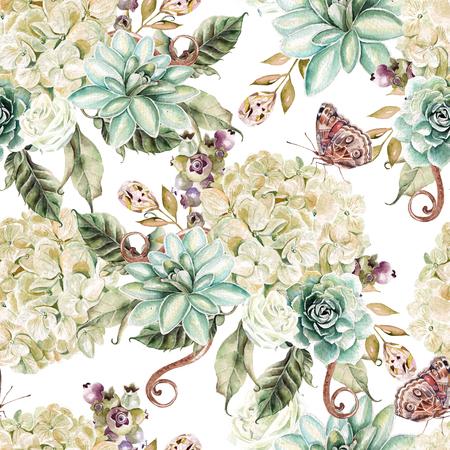 Helder waterverf naadloos patroon met bloemenhydrangea hortensia, roos en succulents. Illustratie Stockfoto