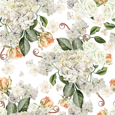 Bright watercolor seamless pattern with flowers roses, wild flowers and hydrangea. Illustration Stock Photo