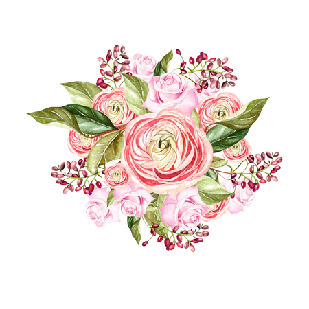 Beautiful bright watercolor bouquet with flowers of rose and peonies. Illustration