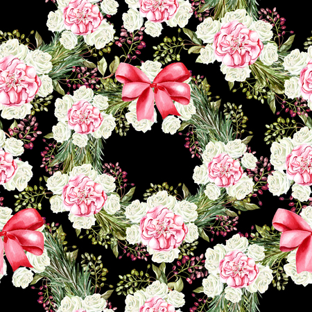 Christmas watercolor pattern with flowers of a rose and a Christmas tree. Illustration