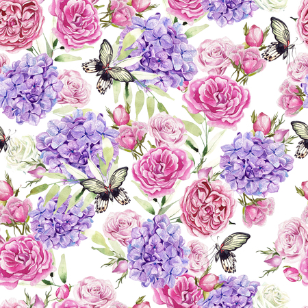 Beautiful romantic watercolor pattern with roses and hydrangeas. Butterflies and green leaves. Illustration Stok Fotoğraf
