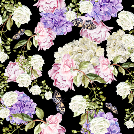 Beautiful watercolor pattern with flowers  hudrangea, peony and roses. illustration Stock Photo