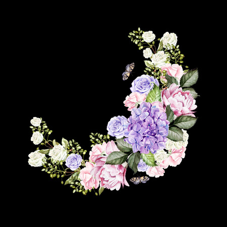 Beautiful, bright watercolor wreath with roses, peony, hudrangea and butterflies. Illustration