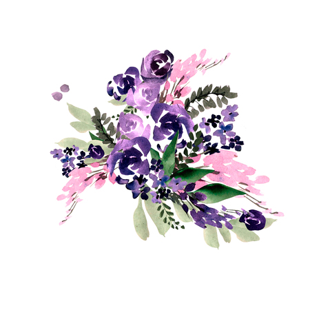 Beautiful watercolor wedding bouquet with purple flowers. Illustration