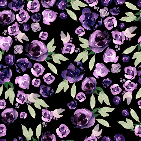 Beautiful watercolor pattern with purple and pink flowers. Illustration