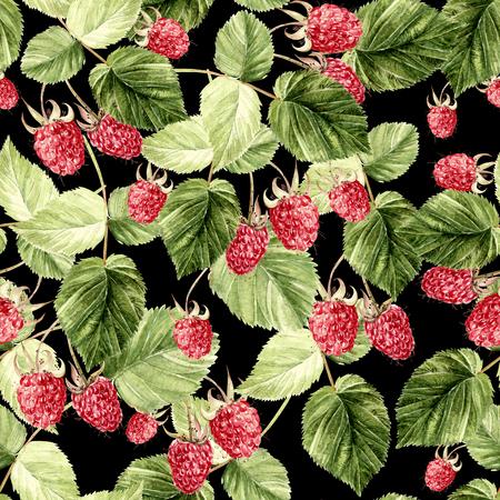 Beautiful Watercolor Raspberry Seamless Pattern. Illustration