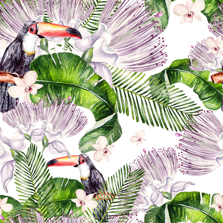 Beautiful watercolor seamless, tropical jungle floral pattern background with palm leaves, flower of roses, capers and  bird tukan. Illustration Banco de Imagens