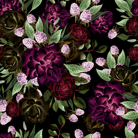 Beautiful watercolor pattern with flowers rose and blackberry. Illustration