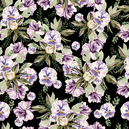 Beautiful watercolor pattern with peony and pansy flowers, lpetunia and leaves.  Illustration