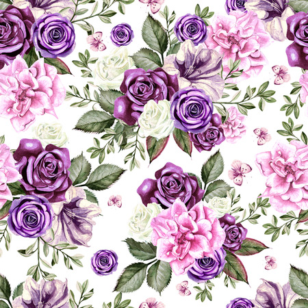 Bright watercolor flowers seamless pattern with roses, peony, petunia and butterfly. Illustration Stock Photo