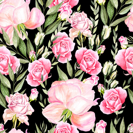 Beautiful bright watercolor pattern with roses. Illustration