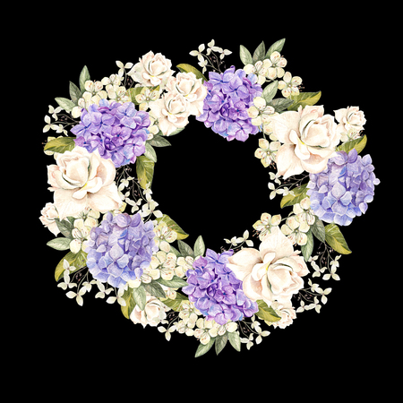 Beautiful, bright watercolor wreath with roses and hudrangea. Illustration Stock Photo