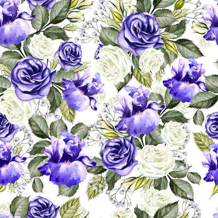 Bright watercolor flowers seamless pattern with roses, iris and anemones. Illustration