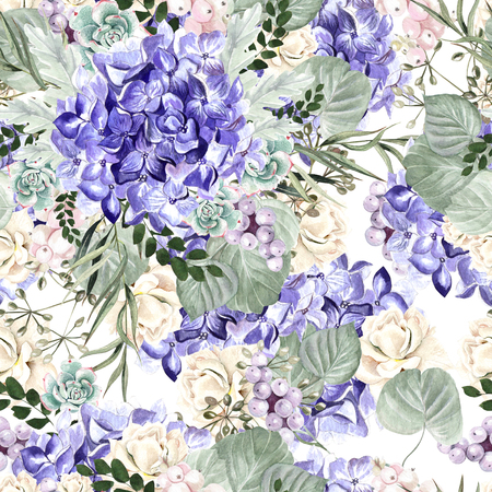 Colorful watercolor pattern with flowers hydrangea, rose, succulents and leaves. Illustration Stockfoto
