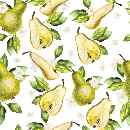 Watercolor Pattern with pears and flowers. Illustration.