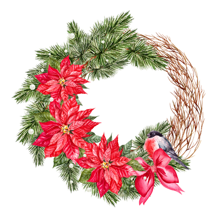 Watercolor Christmas wreath with toys, bow and pine.  Illustration Stock Illustration - 111765380