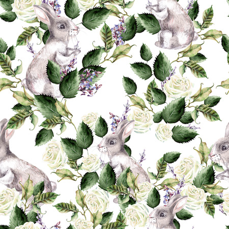 Watercolor pattern with Fanny banny, green leaves and lavender flowers. Perfect for fabric, paper and other printing and web projects. Illustration