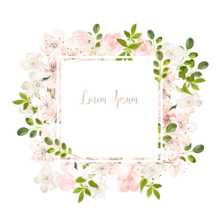 Beautiful watercolor wedding card  with spring and roses flowers. Illustration