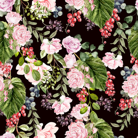 Beautiful watercolor pattern with peony and rose flowers, currant berries, blueberries. Illustration