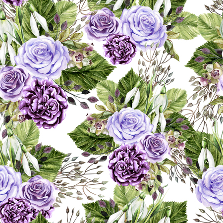 Beautiful watercolor bright pattern with roses  and peony flowers. Illustration Stock Photo