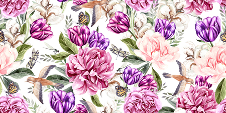 Watercolor seamless spring pattern with peony, tulip, cotton and birds. Illustration Archivio Fotografico