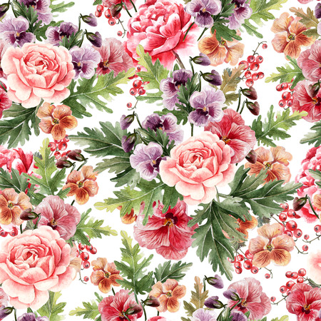 Bright watercolor seamless pattern with peony, roses and violet flowers,berries. Illustration