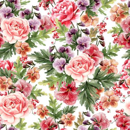 Helles Aquarell nahtloses Muster mit Pfingstrose, Rosen und violetten Blumen, Beeren. Illustration