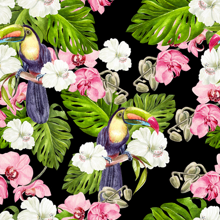 Beautiful watercolor tropical pattern with orchids, hibiscus flowers and tropical leaves, bird tucan.  llustration Reklamní fotografie