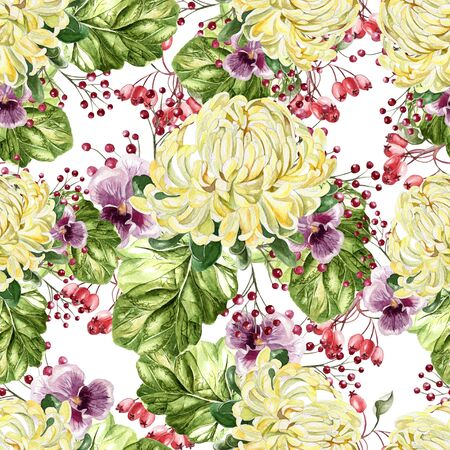 Bright watercolor autumn seamless pattern with flowers of chrysanthemum and violets. Illustration