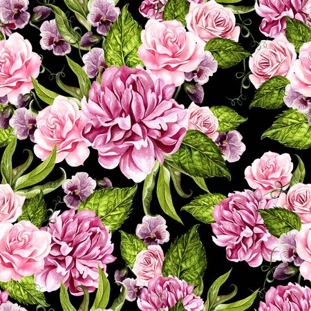 Bright watercolor seamless pattern with peony, roses and violet flowers. Illustration Banco de Imagens