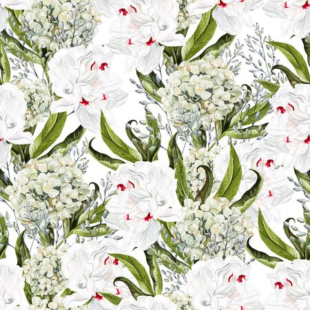 Beautiful watercolor seamless pattern with peony flower and hydrangea. Illustration