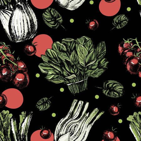 Beautiful watercolor seamless pattern with tomatoes, spinach and fennel. Illustration Stockfoto
