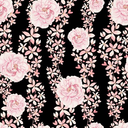 Bright colorful seamless pattern with flowers of roses and peony. Illustration