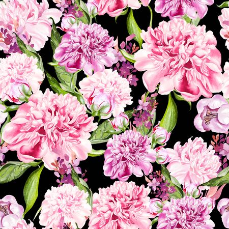 Bright watercolor seamless pattern with peony flowers. Illustration Banco de Imagens