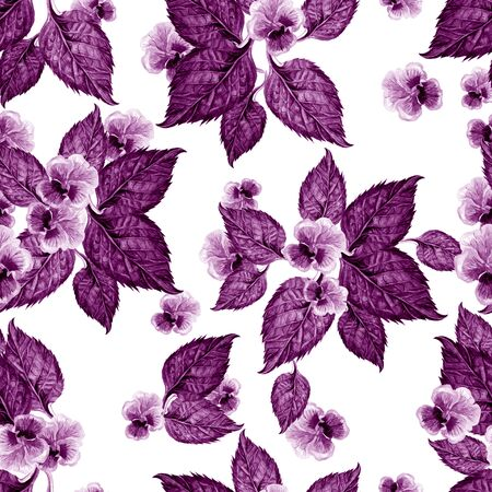 Bright watercolor seamless pattern with violet flowers. Illustration