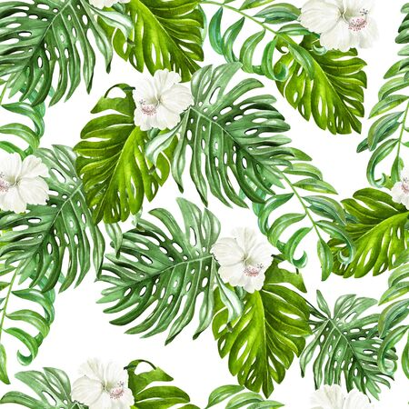 Bellissimo motivo tropicale ad acquerello con fiori di ibisco e foglie tropicali. illustrazione Archivio Fotografico