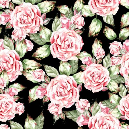 Beautiful watercolor wedding pattern with rose. Illustration 스톡 콘텐츠