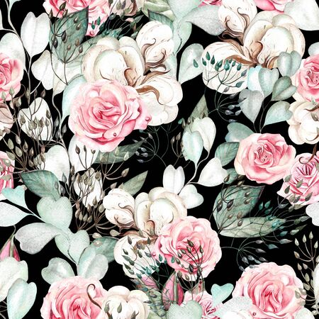 Beautiful watercolor wedding pattern with eucalyptus  and rose. Illustration