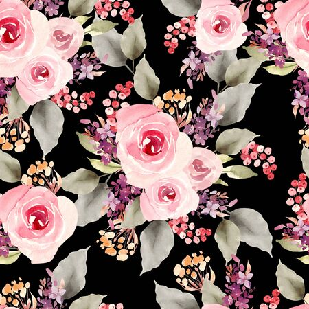 Bright colorful seamless pattern with flowers of roses and berry. Illustration 版權商用圖片