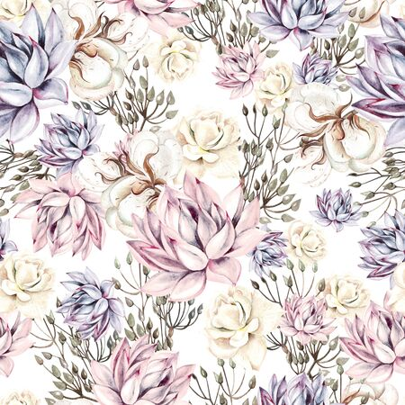 Watercolor succulents seamless pattern. Seamless texture with objects: plants, succulent, roses, cotton. Hand painted vintage gardening background.  Illustration Imagens