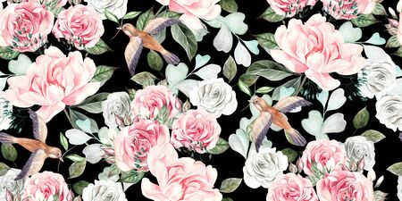 Beautiful watercolor seamless wedding pattern with eucaluptys, peony and rose. Illustration