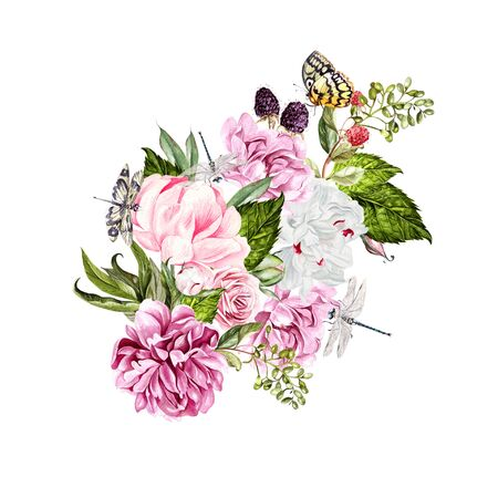 Watercolor bouquet with flowers of peony and roses, berryes and birds.  Raspberries, currants and blackberries. Illustration